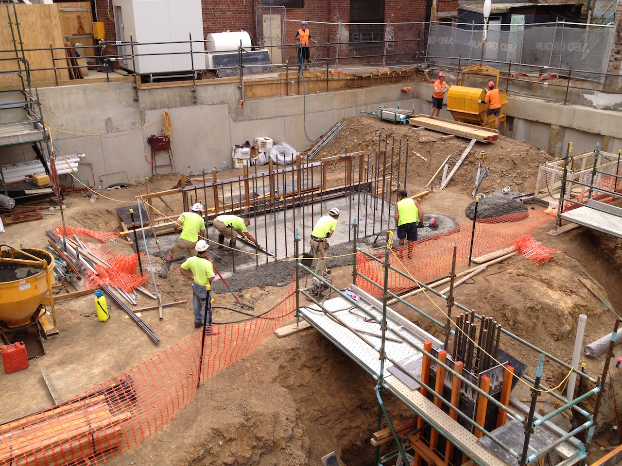 Core Raft Footing poured - Duo Apartments - Spencer Street, Melbourne VIC