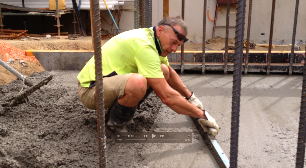 Screeding off Core Raft Footing - Duo Apartments - Spencer Street, Melbourne VIC